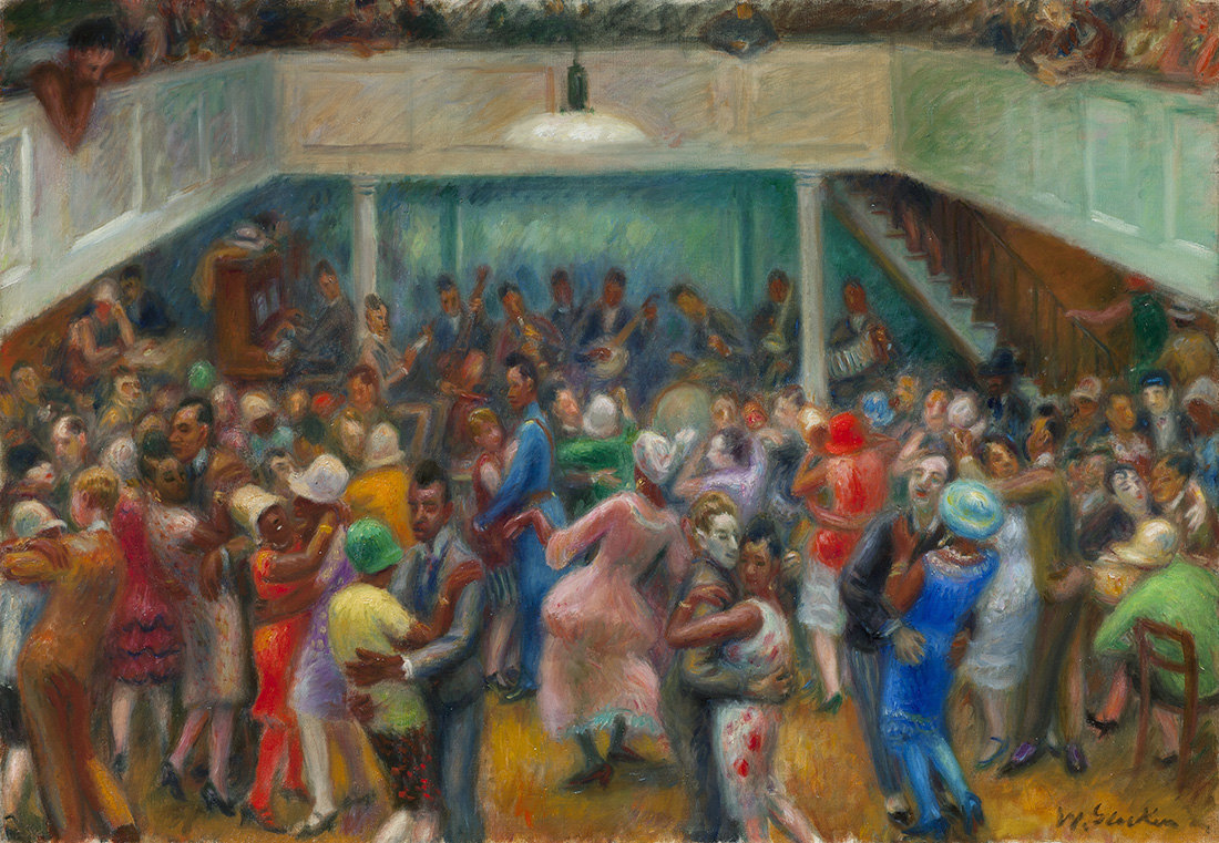 Drawing of dance hall with many people dancing on dance floor and mezzanine