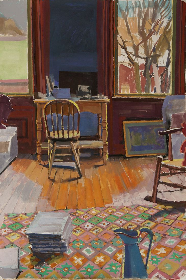 Painting of room with two windows, a desk with a chair, and a green and orange rug