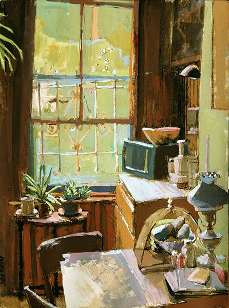 Painting of kitchen with large window, plants, and bowl of avocados