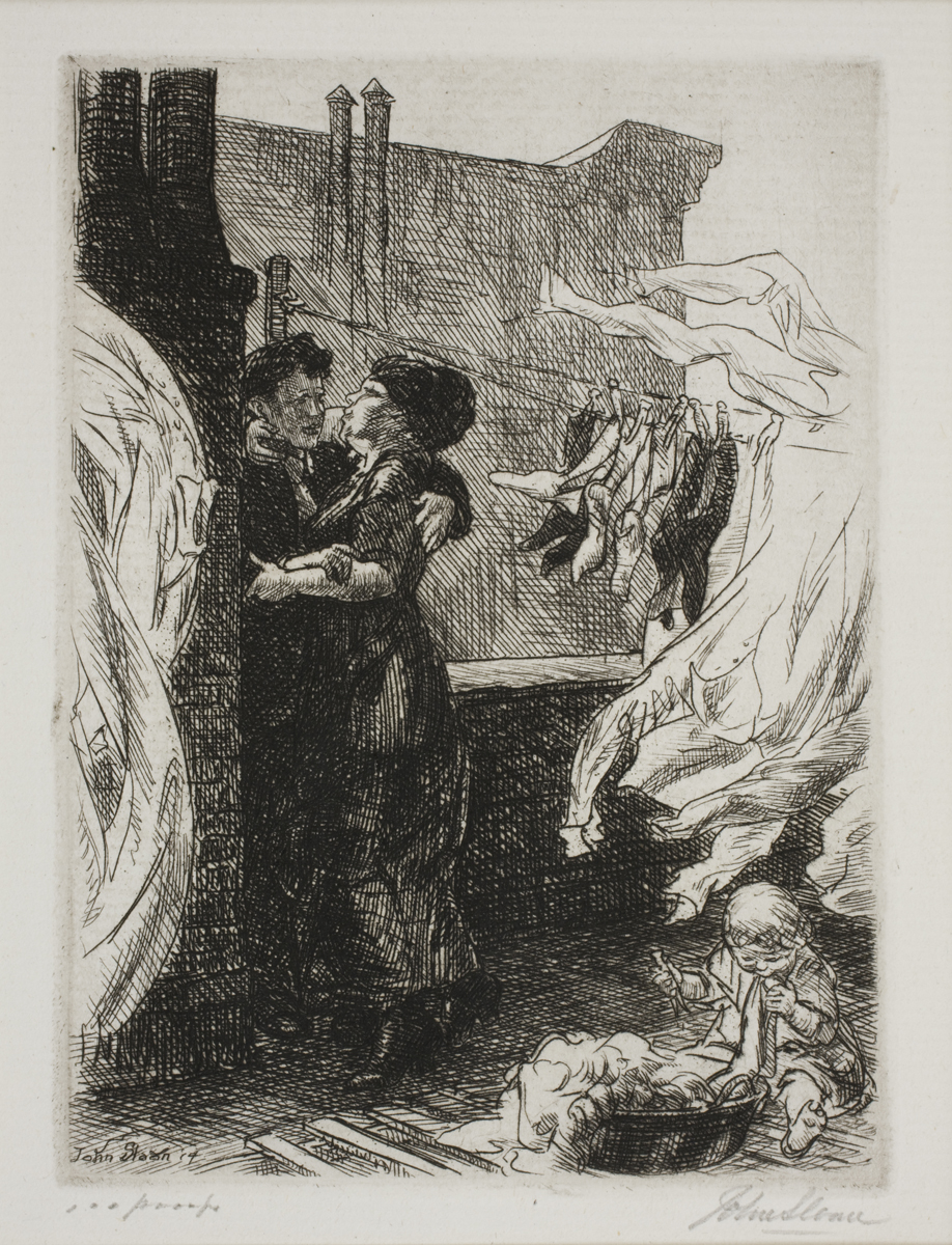 Etching of two figures kissing on a roof. Clothing and sheets hang from a clothes line, and a baby sits on the ground playing