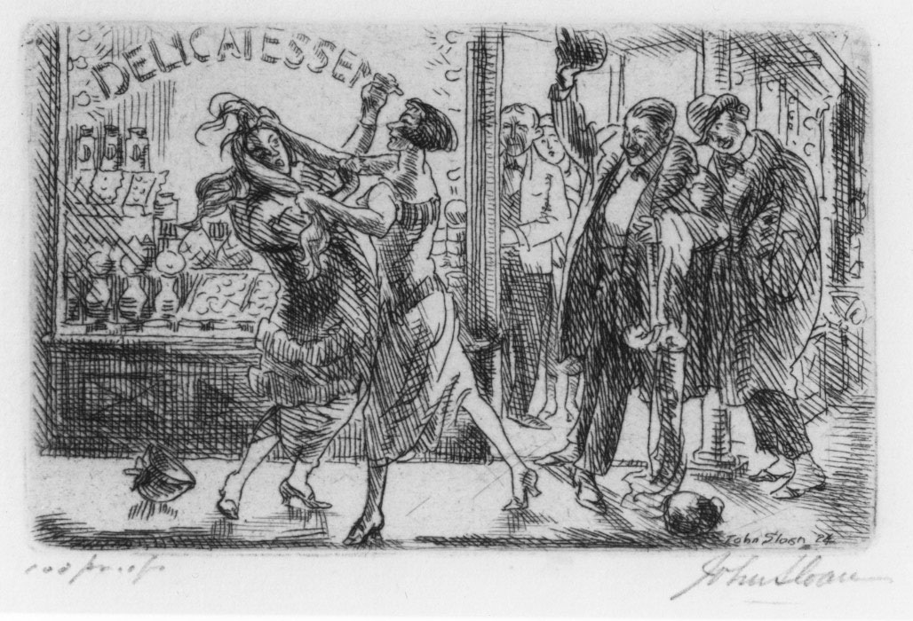Etching of two women fighting outside delicatessen with men watching