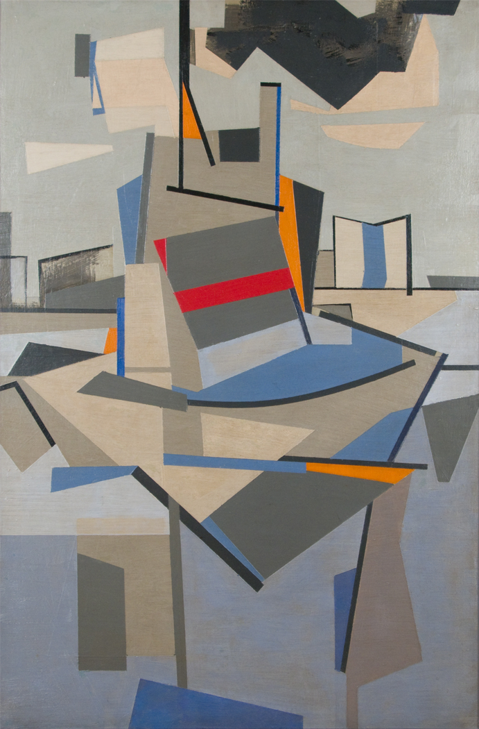 Abstract painting of geometric shapes in blue, red, grey, orange, beige