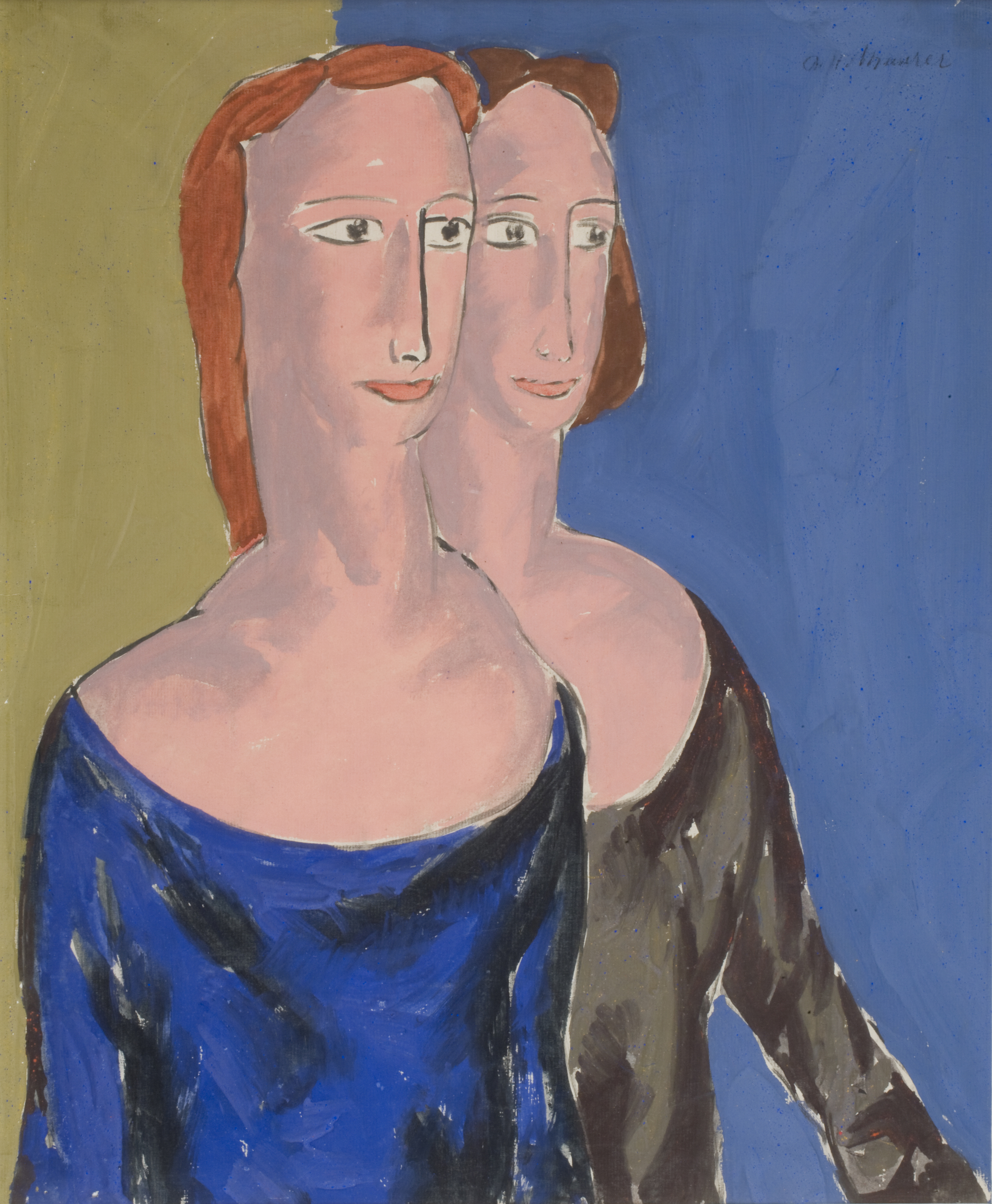 Painting of two women with red hair overlapping, one wearing a blue dress and one wearing a black dress. Green background on left, blue on left