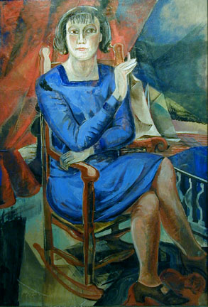 Painting of woman smoking in blue dress with red and blue geometric background