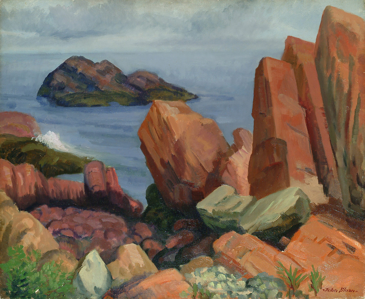 Painting of craggy rocks overlooking small rock island in water
