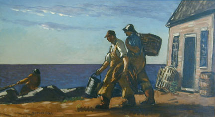 Painting of two fishermen walking to ocean with buckets, house on right, ocean on right
