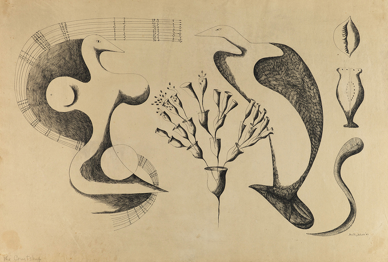 Drawing of abstract birdlike shapes in a mating show
