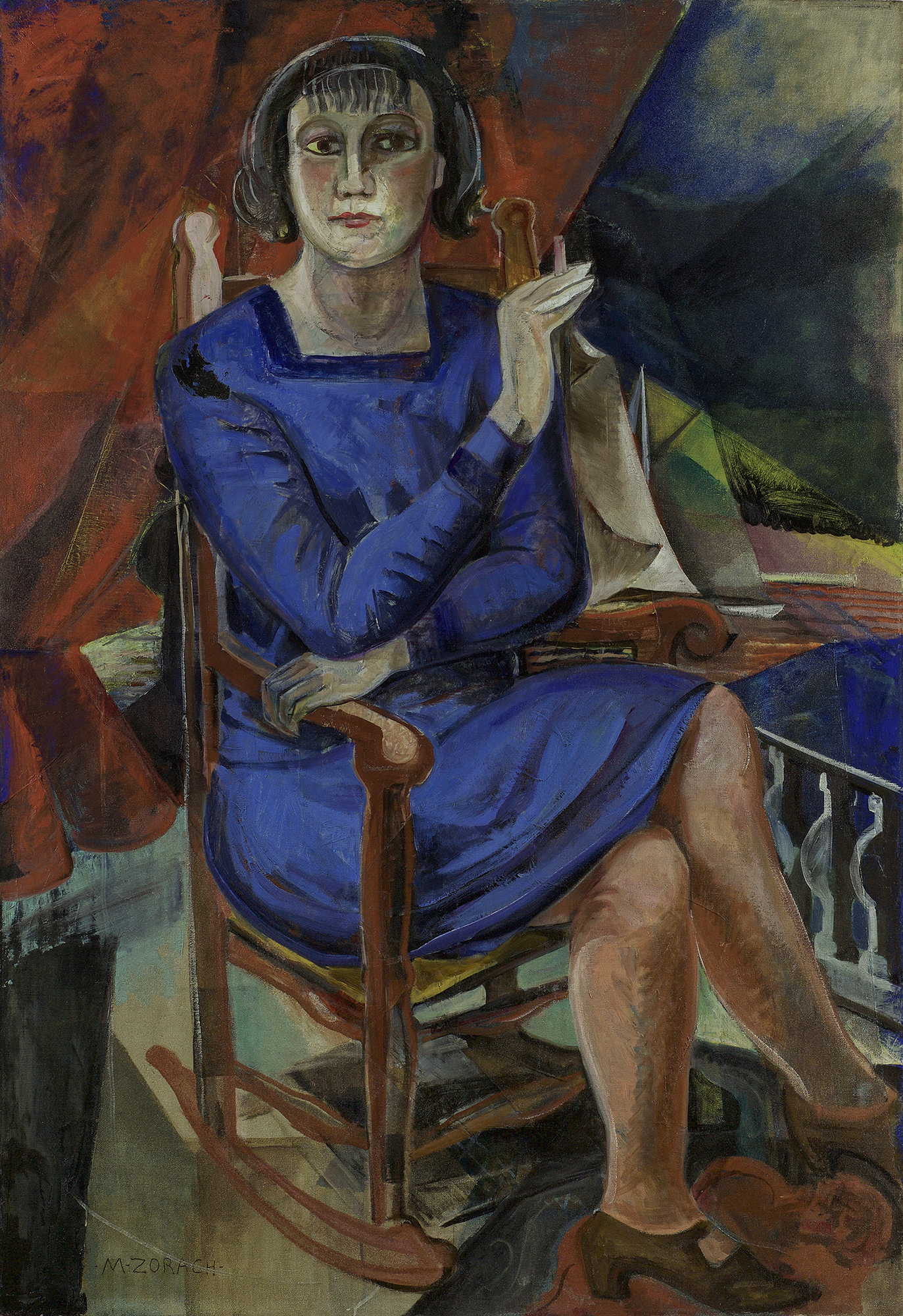 Painting of a woman in a blue dress sitting on a rocking chair smoking against a cubist-looking, geometric background