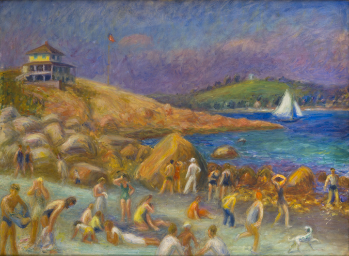 Painting of bathers at the beach, white sailboat in water, house on hill on left