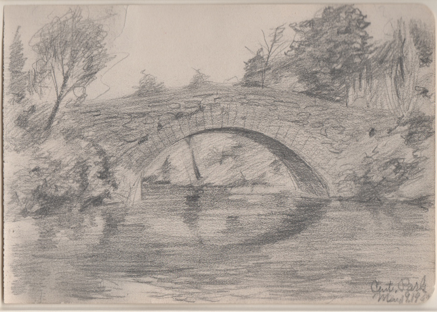 Drawing of bridge over water in Central Park