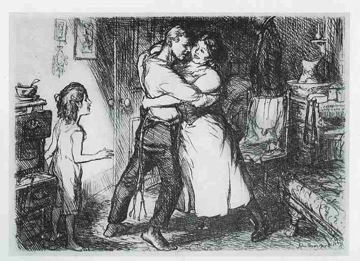 Etching of man and white dancing in their living room in from of their child