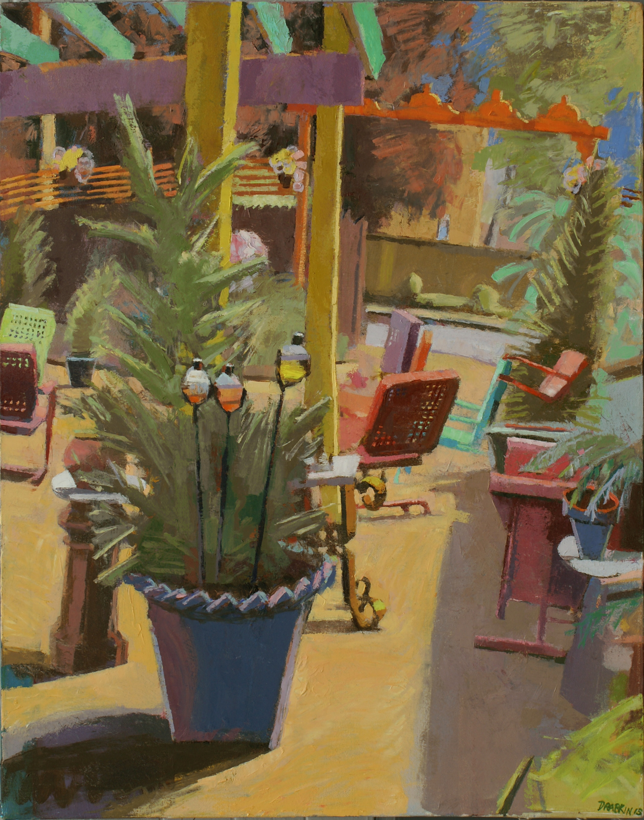 Painting of plant in the middle of outside patio with yellow ground and chairs in red, green, orange, blue
