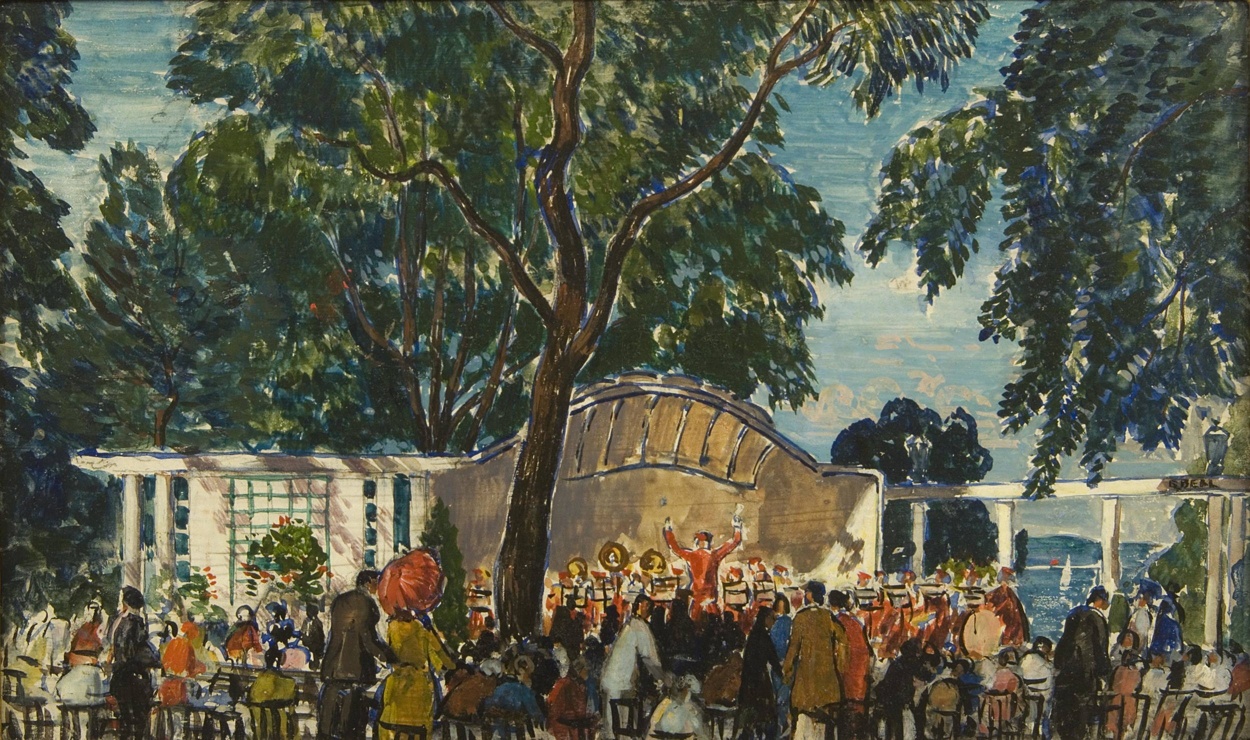 Painting of a bandstand and large crowd with large trees and water in distance