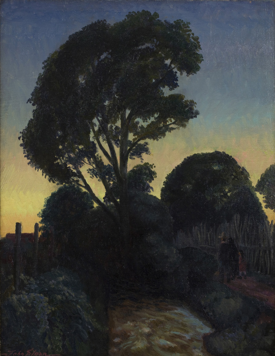 Painting of trees with sunset in background, two figures (adult and child) on right