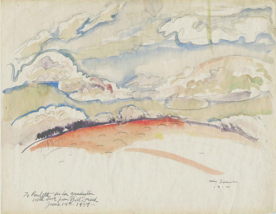 Watercolor of landscape with red earth, purple horizon, and blue sky