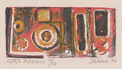 Print with red, black, and ochre resembling a camera/tape recorder