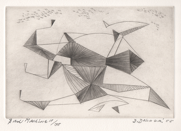 Abstract engraving of bird (dark lines intersecting)