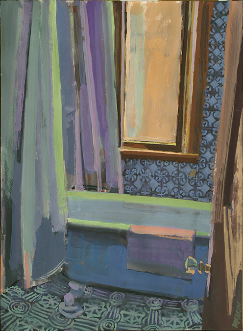 Gouache of blue bathtub (clawfoot) with blue tile wall, green tile floor, shower curtain, window with yellow light, and green light on tub