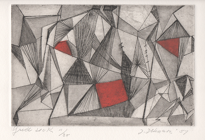 Abstract engraving of intersecting triangle shapes with red shapes interspersed