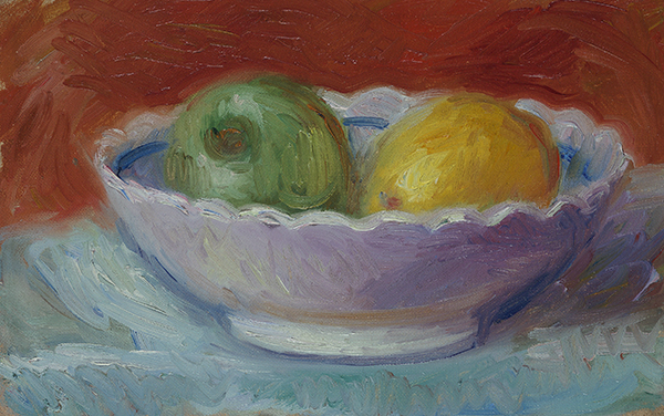 Painting of two pears (green and yellow) in a bowl on a rust background