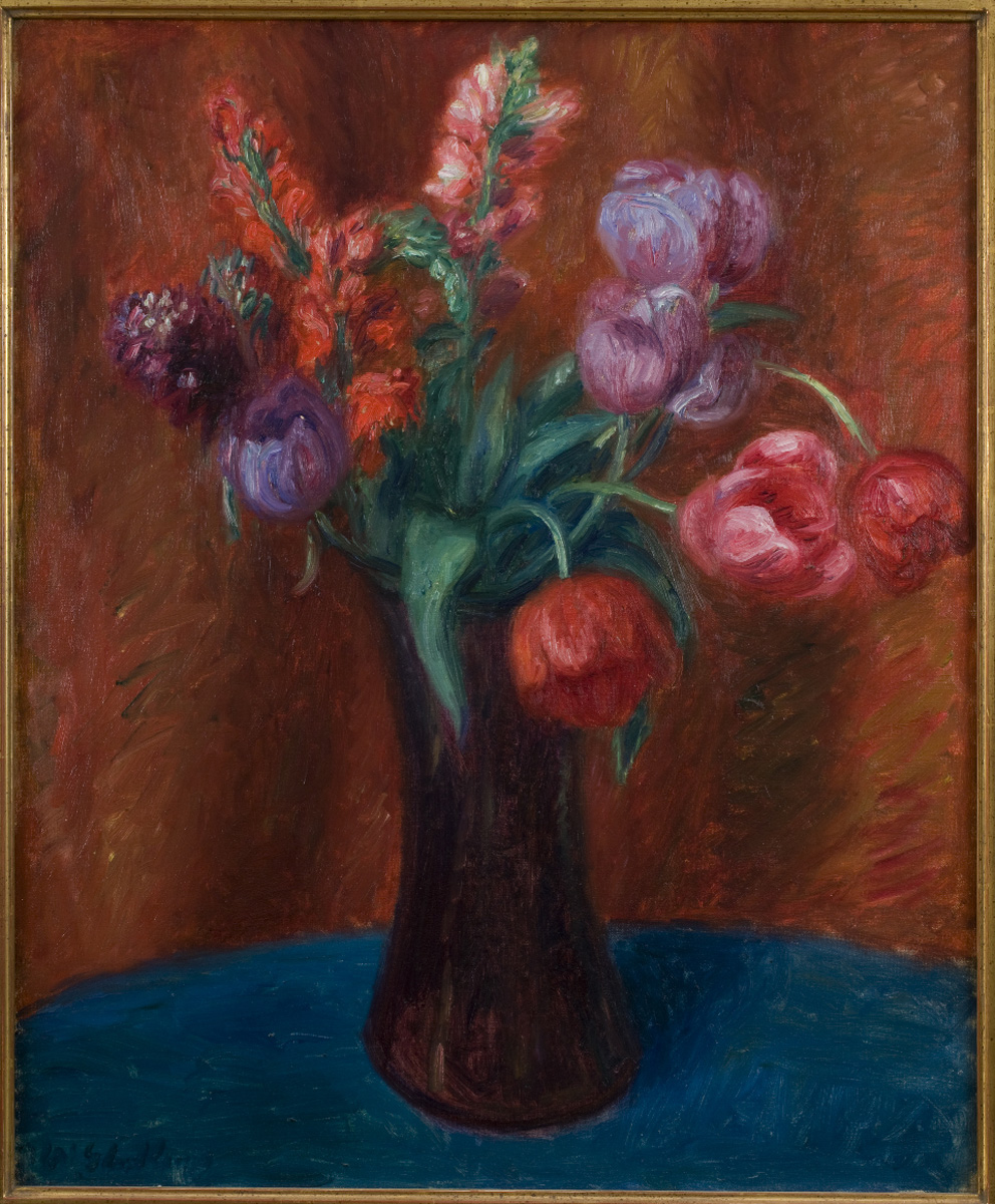 Painting of brown vase containing red, purple, and pink tulips on light brown background on blue tablecloth