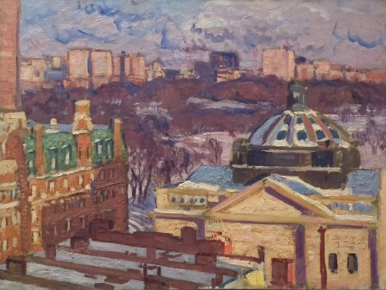 Painting of a view out a window: building with dome roof on right, brick buildings on left, park in distance.