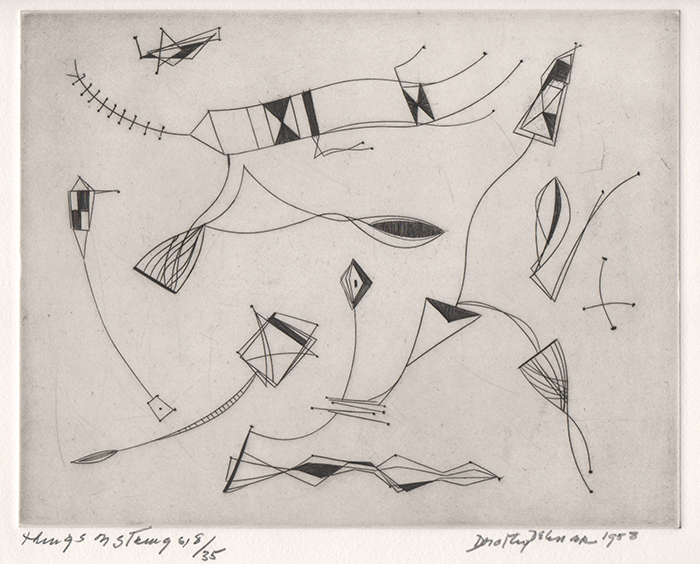 Engraving of abstract shapes in black attached to strings, like kites
