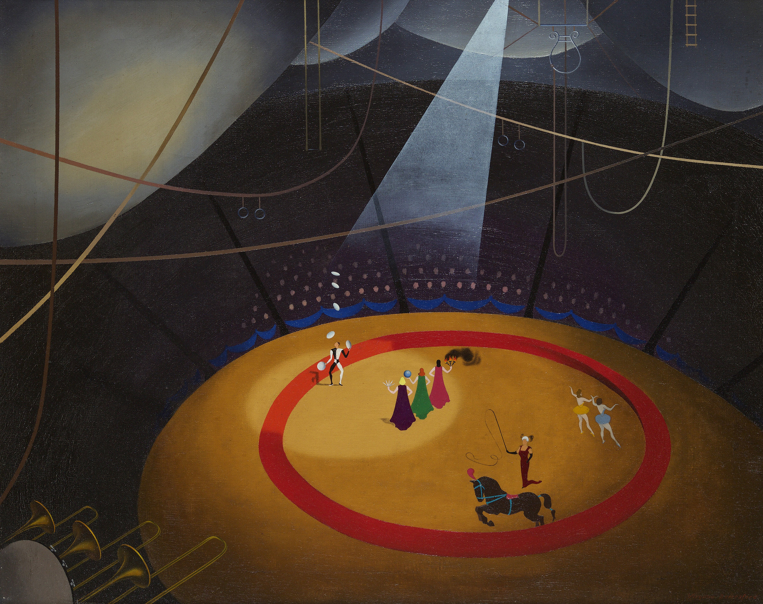 Drawing of circus with red ring in center, spotlight cast on figures in circle, ropes