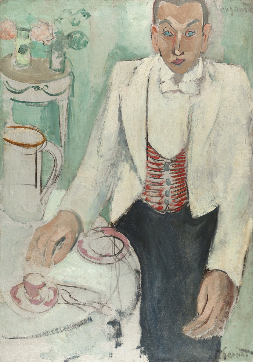 Drawing of man in white jacket at table with cup