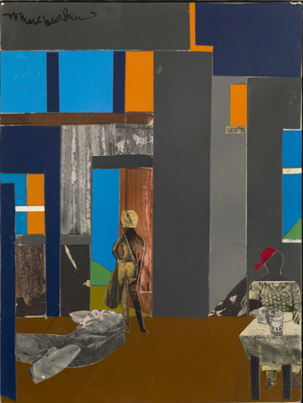 Collage of blue, orange, grey, and brown shapes with grey figure