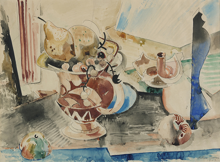Watercolor of patterned fruit container holding pear, apple, and grapes. Candle holder on table.