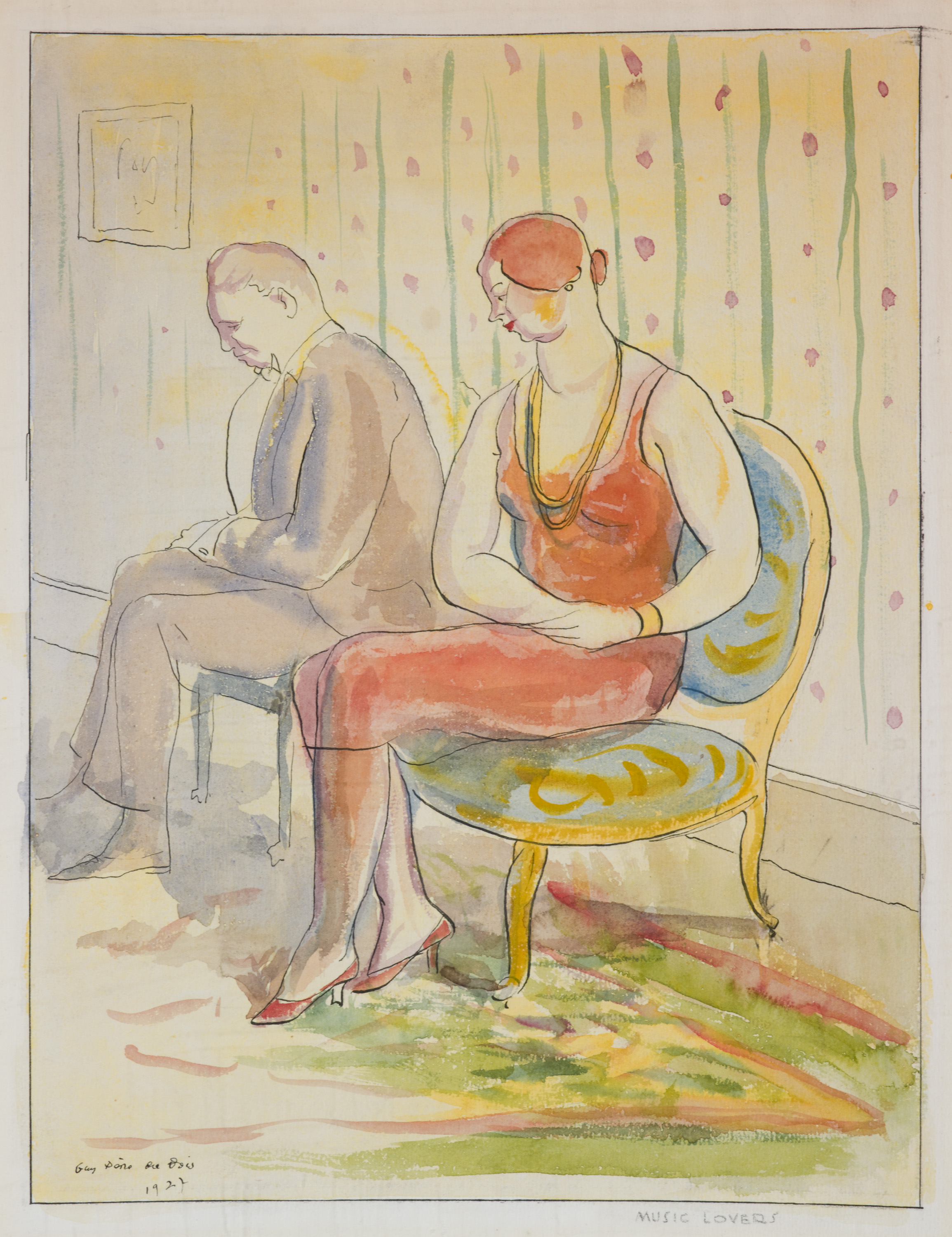 Drawing and watercolor of two figures sitting on chairs- a man in grey and a woman in red with green carpet