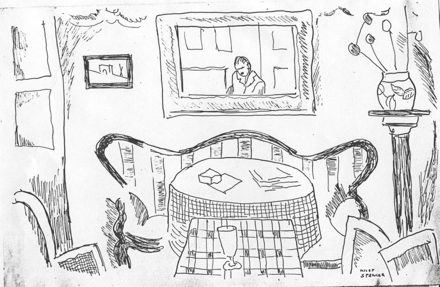 Ink drawing of room with couch, round table, square table, glass, vase, chairs, and mirror with reflection of the artist