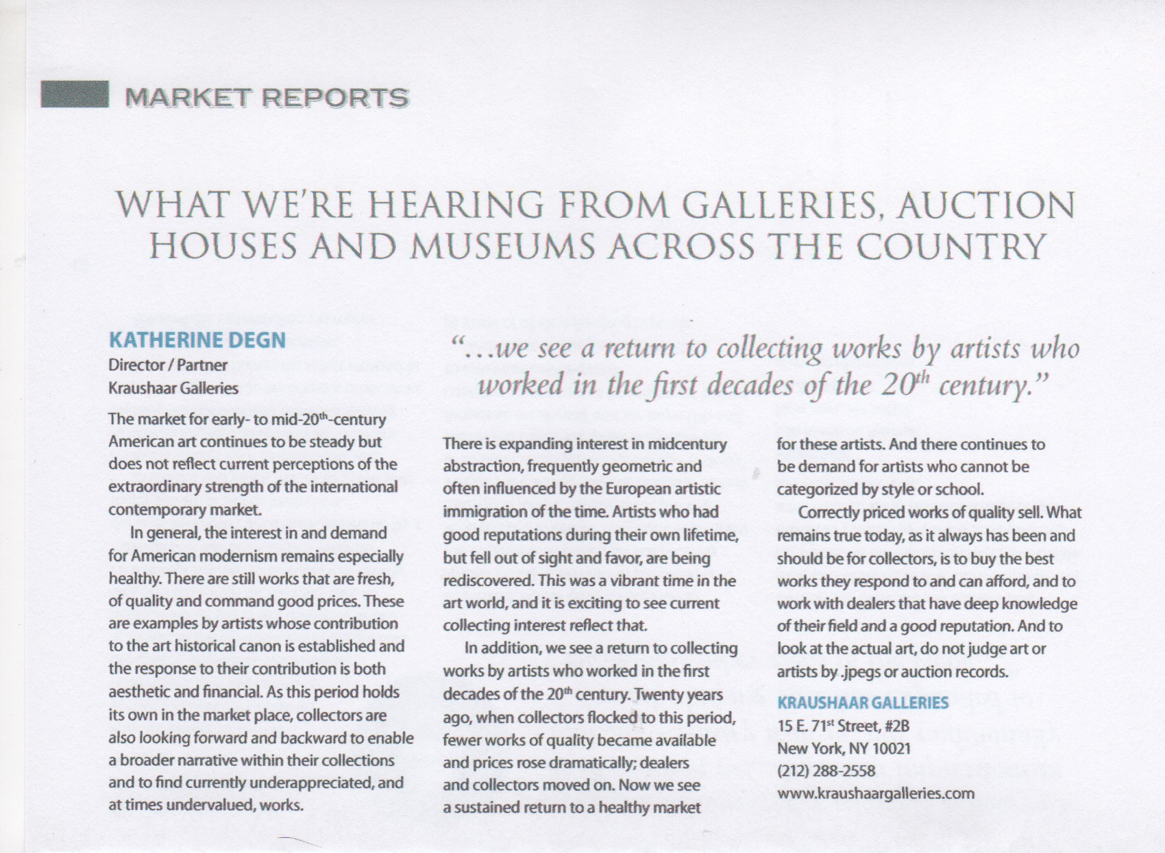"Clipping from the  American Fine Art Magazine  with the heading ""What we're hearing from galleries, auction houses and museums across the country"""