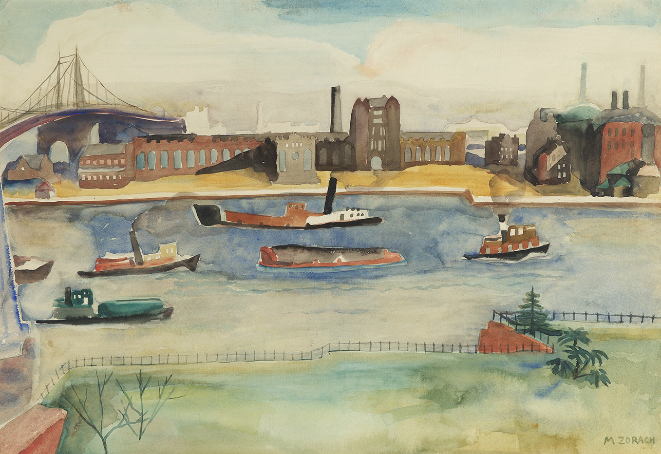 Watercolor of the East River with boats in water, factory across water, and bridge on the left