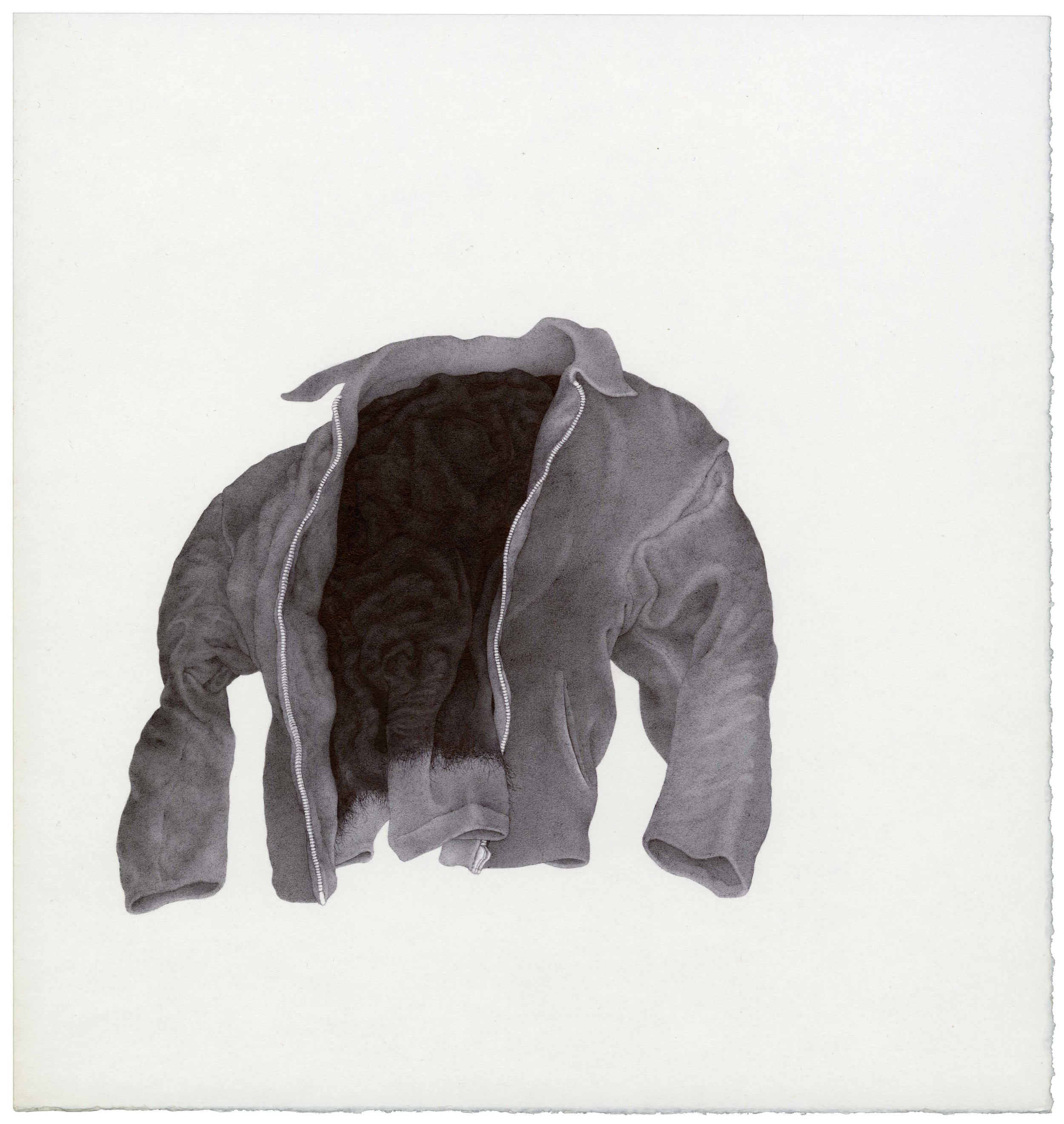 Drawing of a dark jacket floating in air