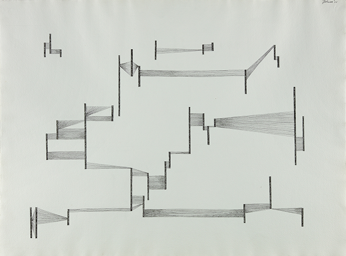 Abstract ink drawing of vertical lines connected horizontally with lighter lines