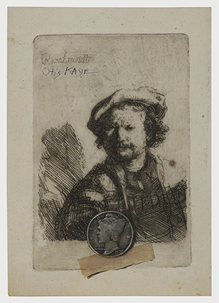 Drawing of Rembrandt with a dime taped to the drawing
