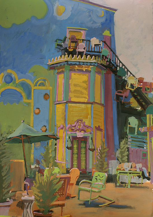 Painting of courtyard outside colorful (yellow, green, blue) building with an umbrella, chairs in green and orange, and plants