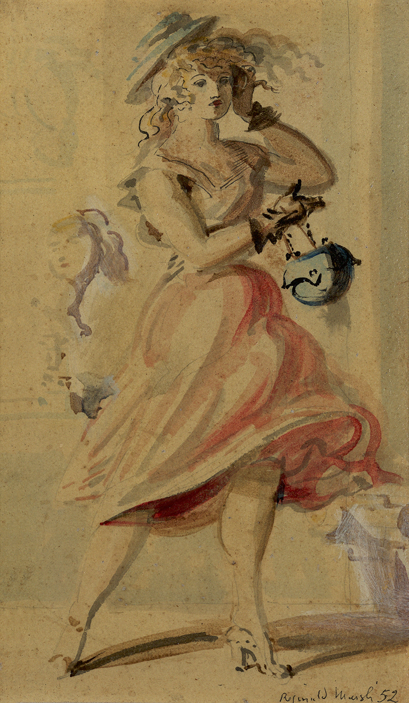 Tempera of woman in pink/red dress with curly hair wearing a blue hat holding a blue purse. House in background.