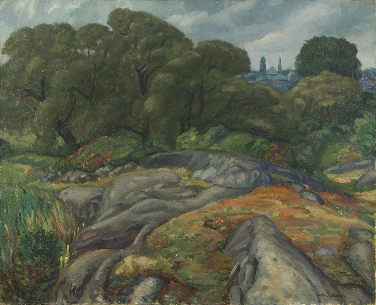 Painting of rocks and trees with buildings visible through trees on top right