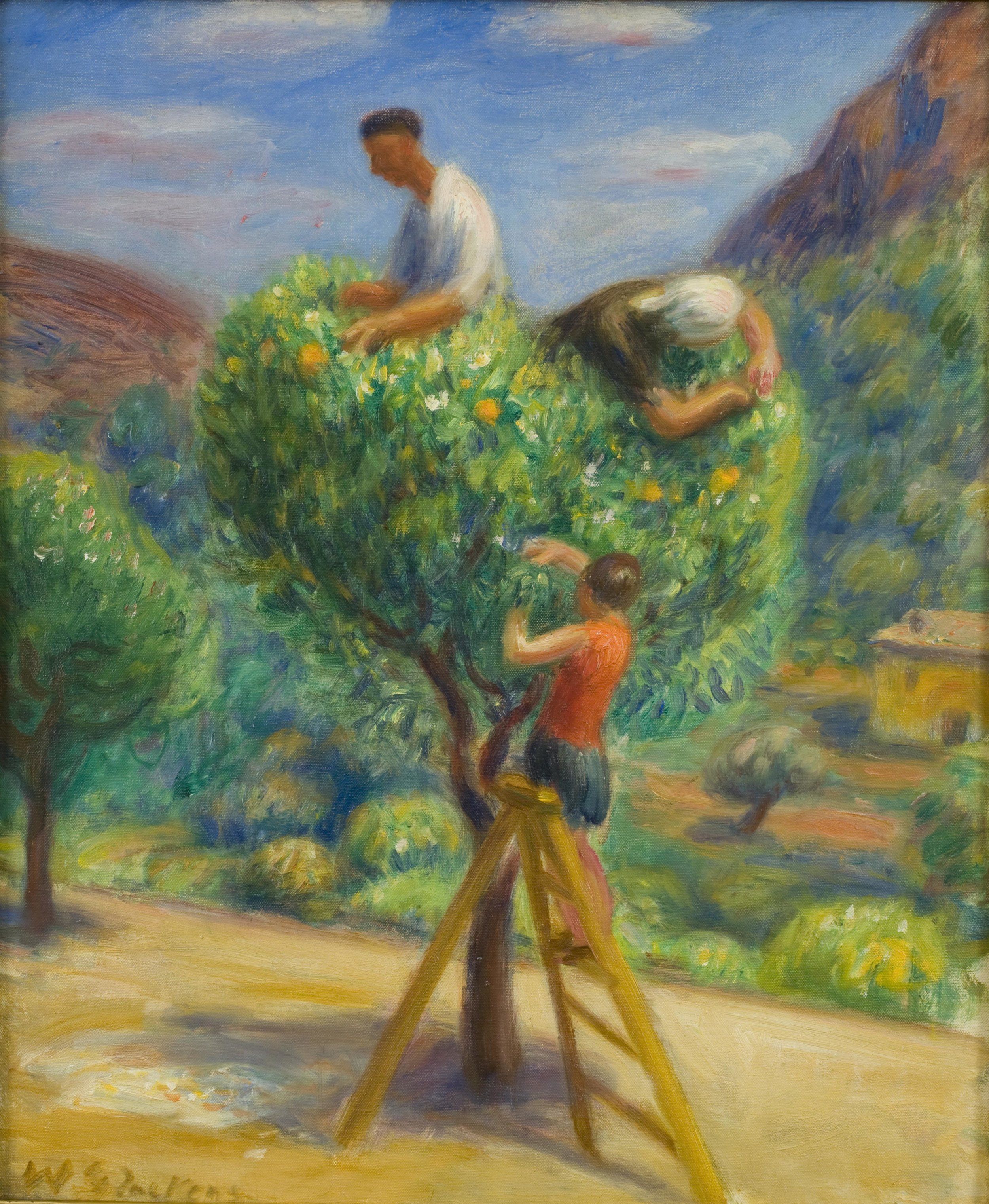 Oil painting of three figures picking fruit from a tree (one on ladder, two in tree)