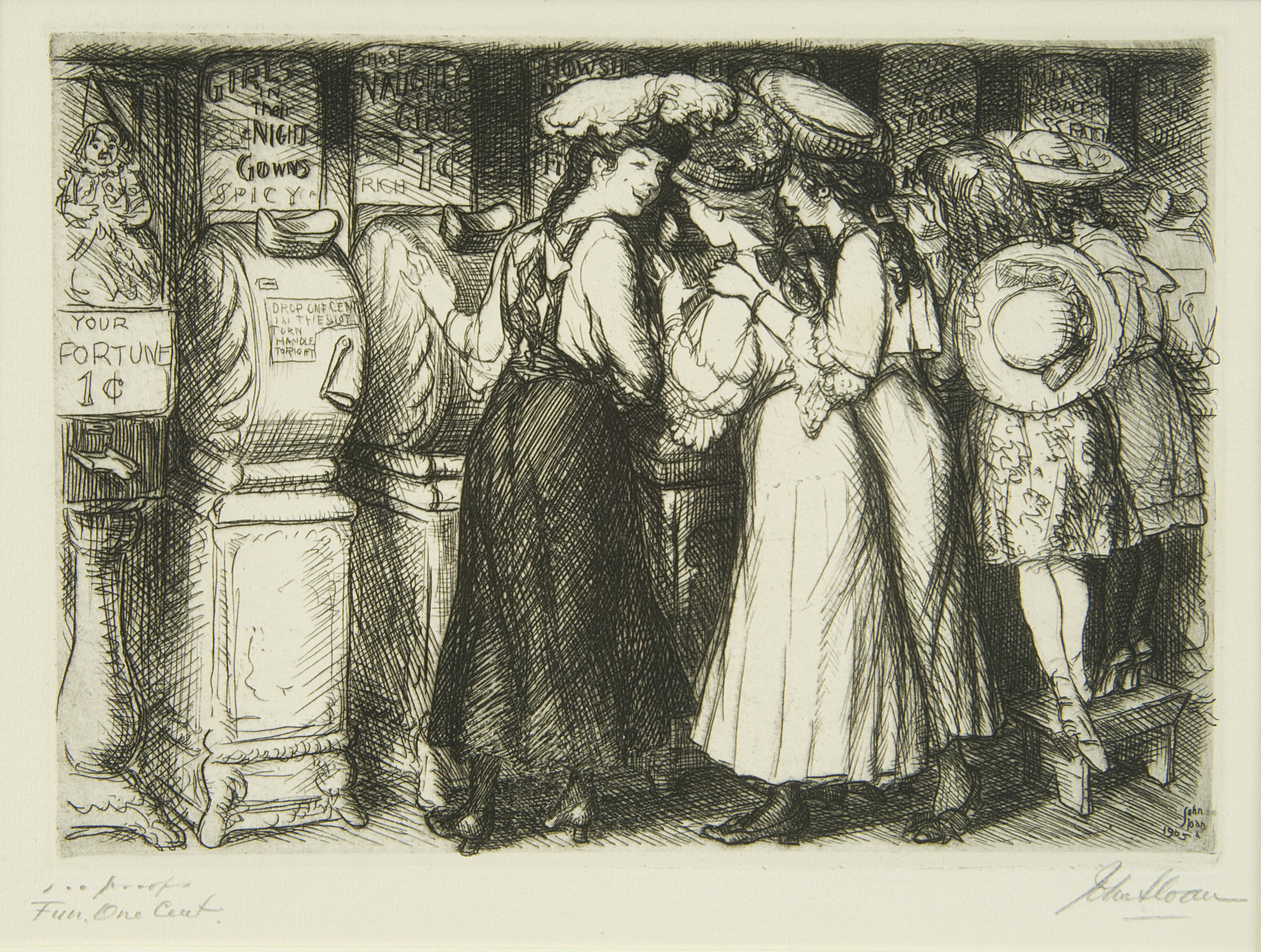 Etching of women looking at naughty images in a one-cent machine