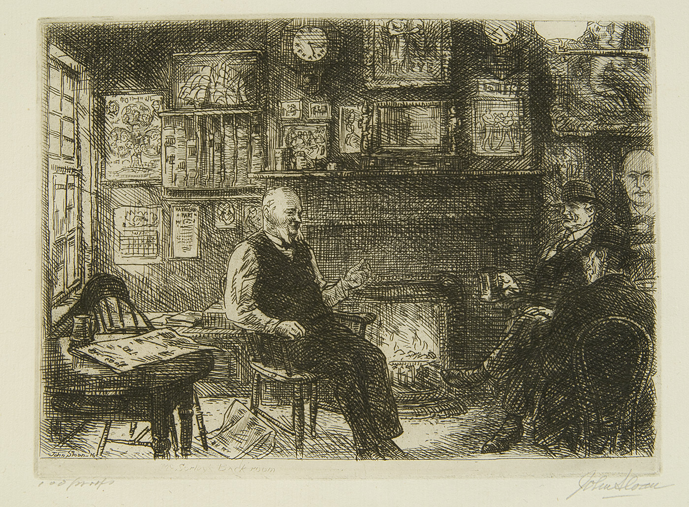 Etching of three men sitting and drinking by a fire