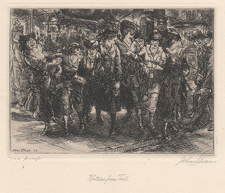 Etching of people going home after work