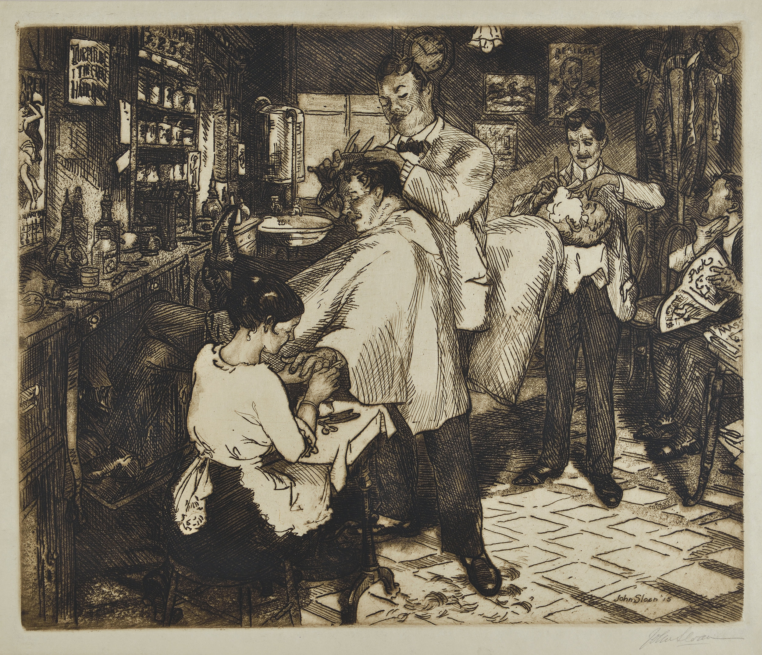 Etching of man getting a haircut at a barbershop and having his nails done. In the background a man is having a shave and a man is waiting for his appointment