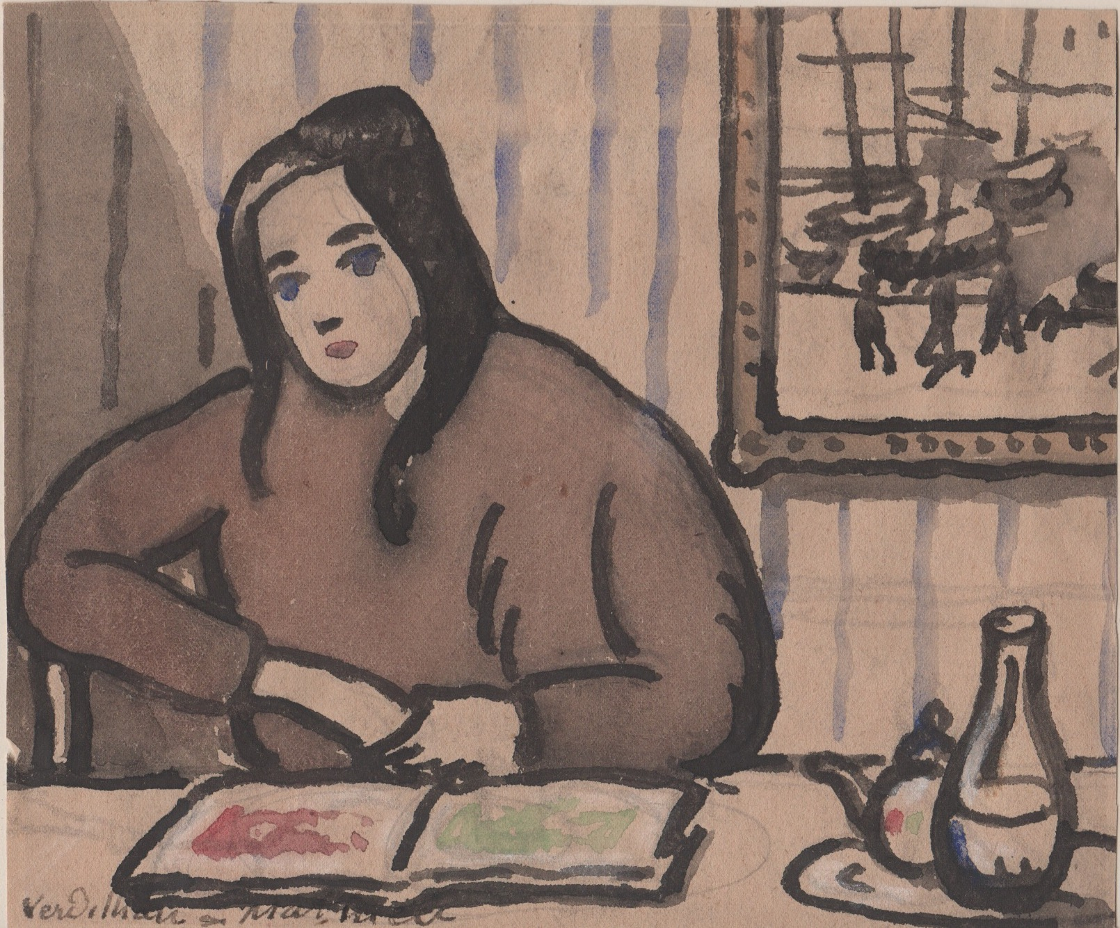 Watercolor of a woman sitting at a table with a tea pot and a pitcher next to her. Striped wallpaper and framed photo in background.