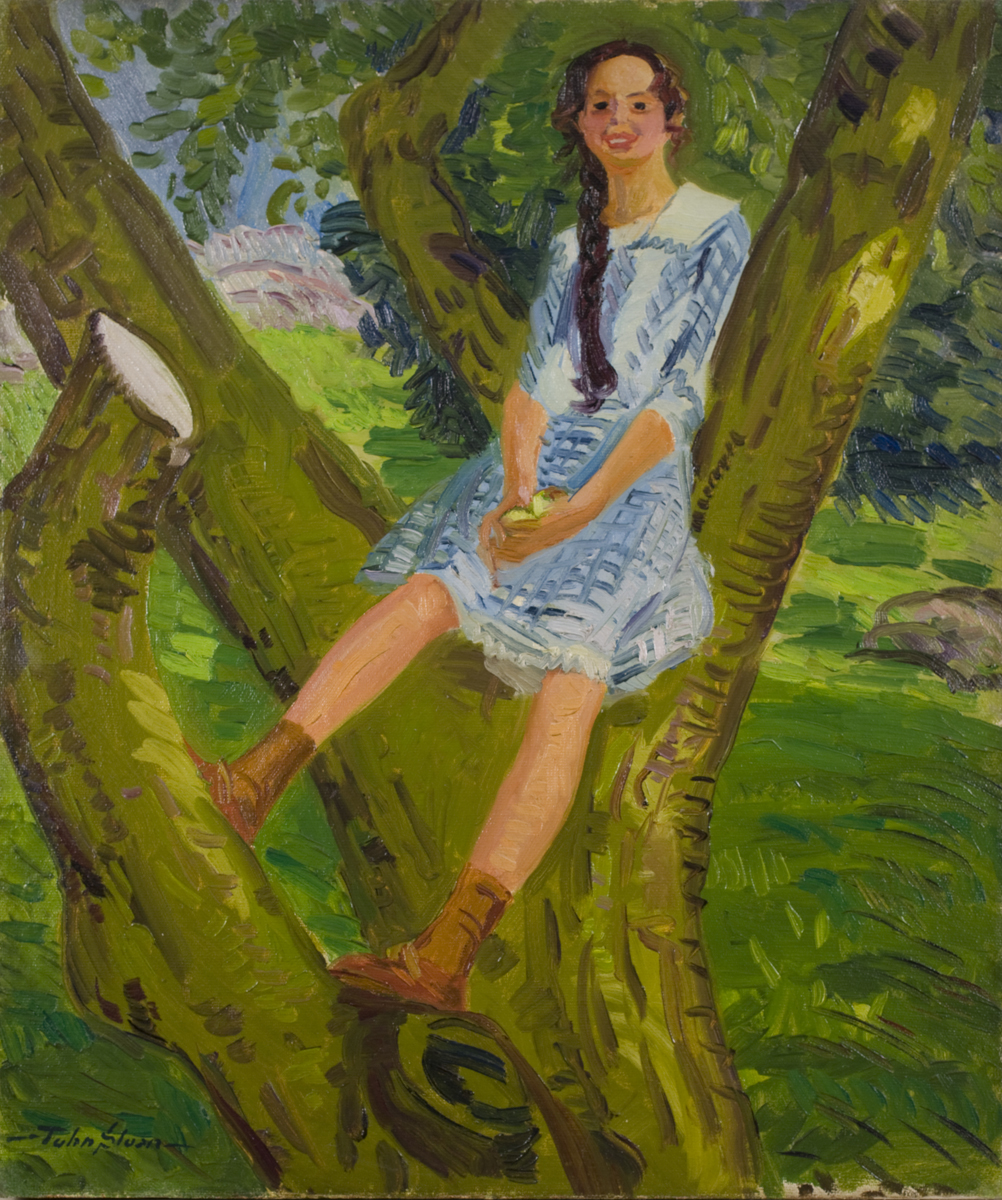 Painting of girl with braid wearing blue dress sitting on tree with grass in background