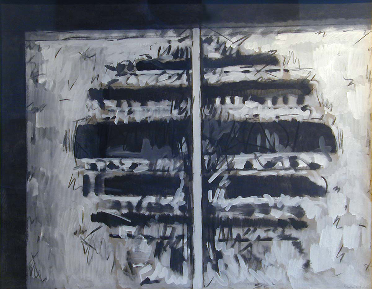 Abstract work on paper (white vertical line down middle, blue horizontal shapes coming out from central line)