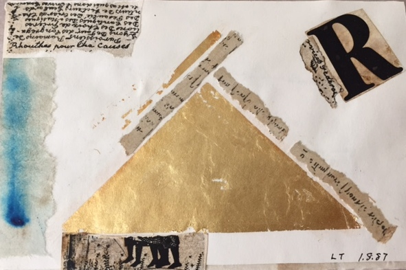 Collage of gold pyramid, clippings of text-covered paper, and blue on the left